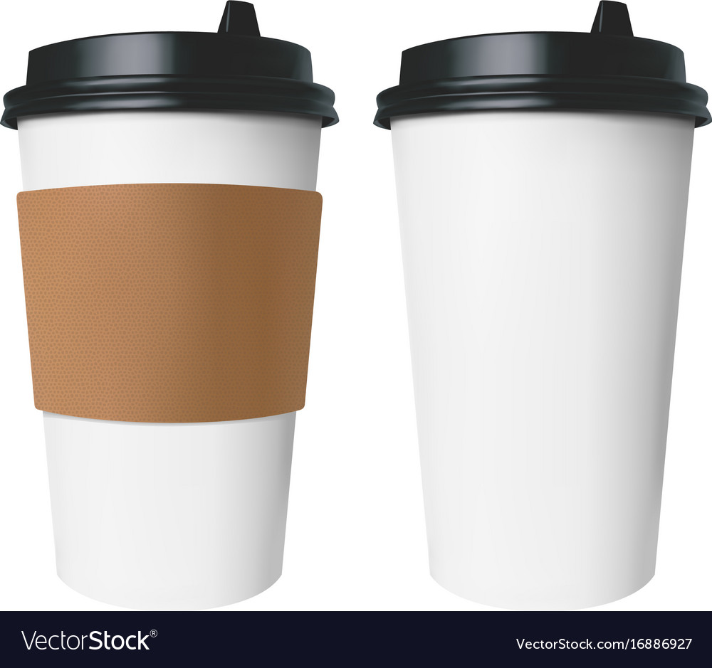 241ac3bbbf4 White paper cup with a brown cover with label and