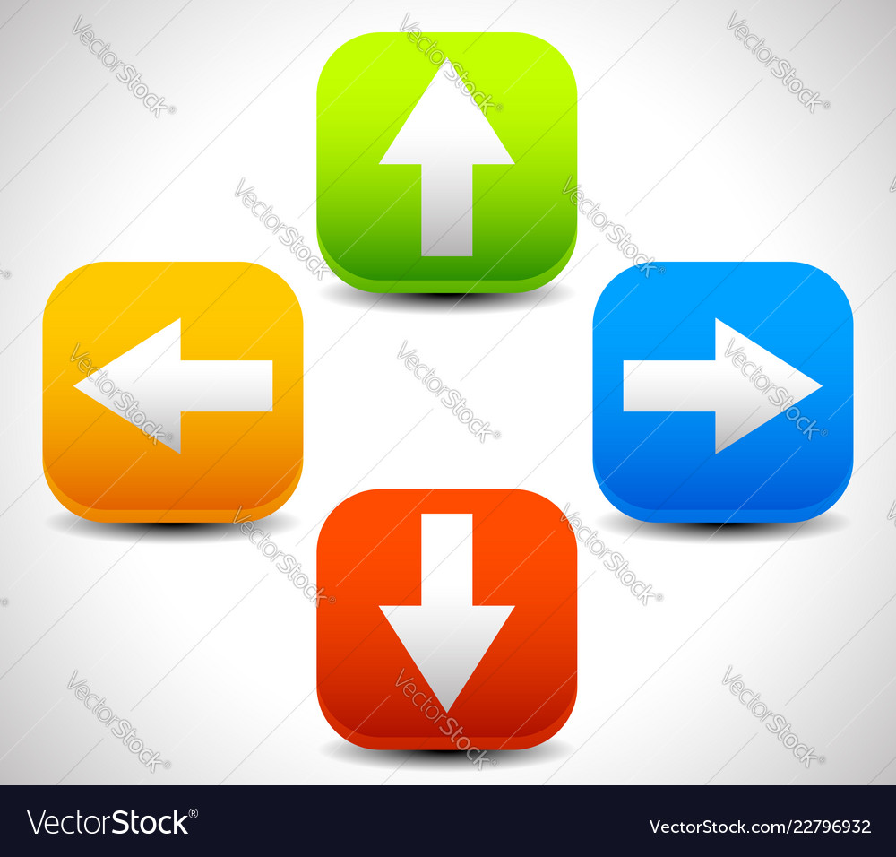 Arrow Icons Pointing Up Down Left And Right Vector Image