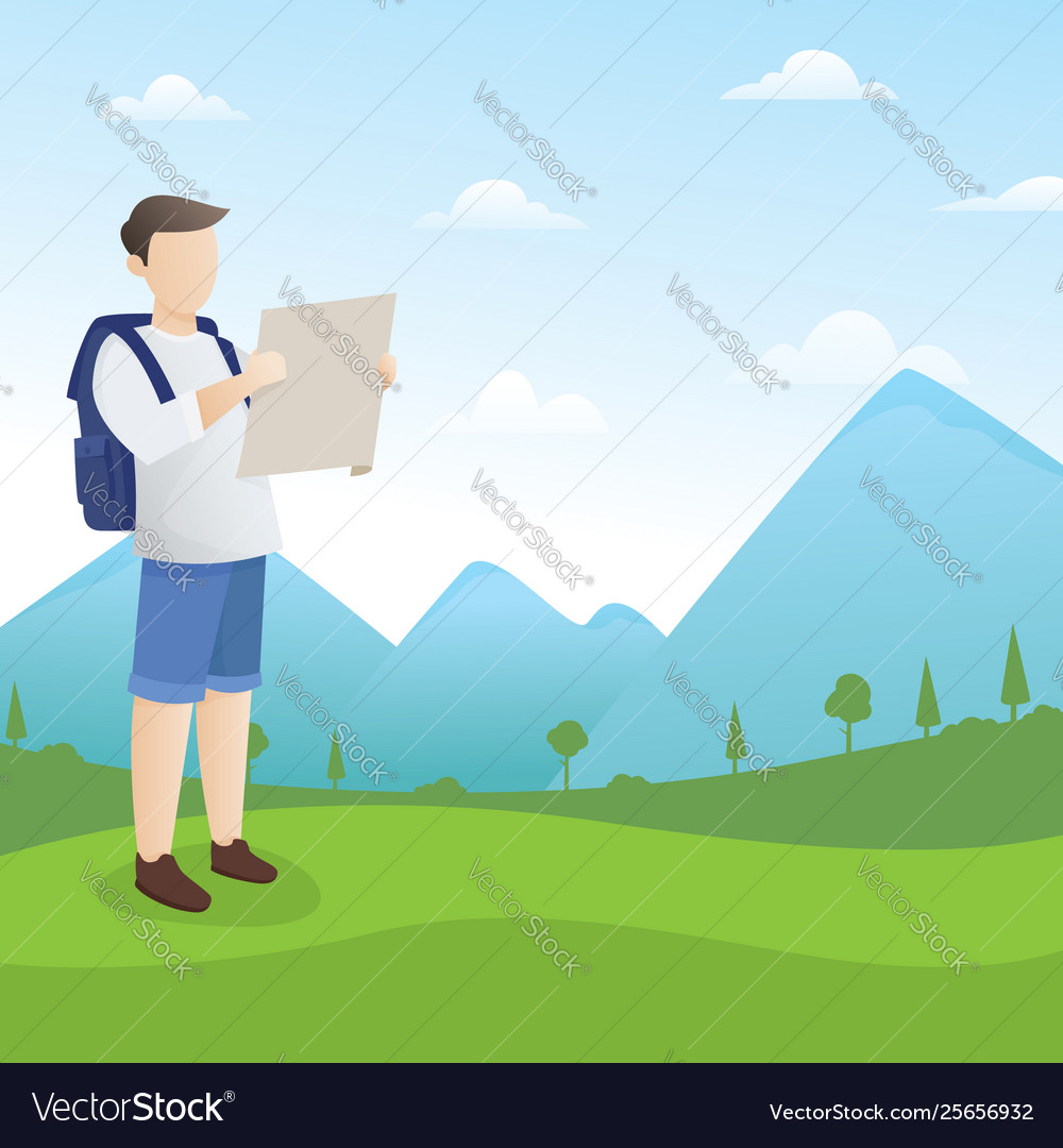 Backpacker looking at map