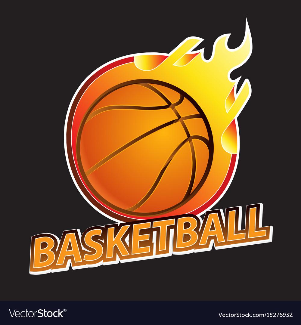 Basketball on fire tournament logo