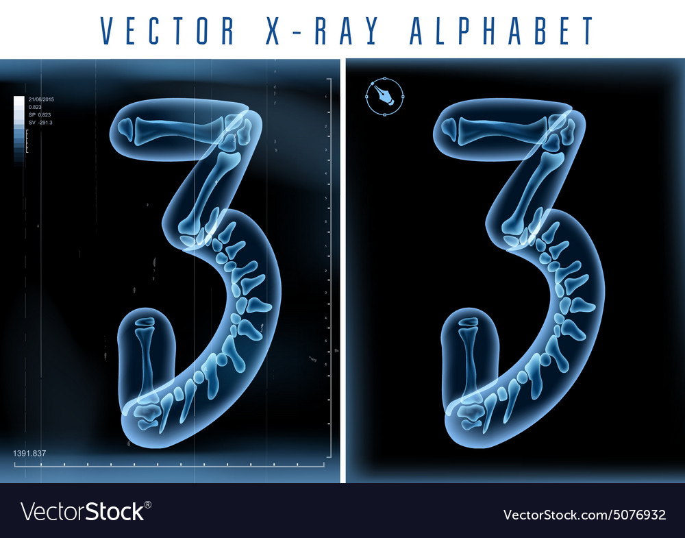 Blue 3D x ray style alphabet for