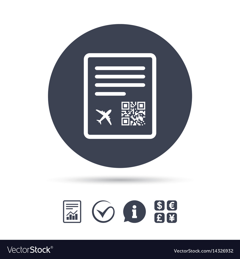 Boarding pass flight sign icon airport ticket