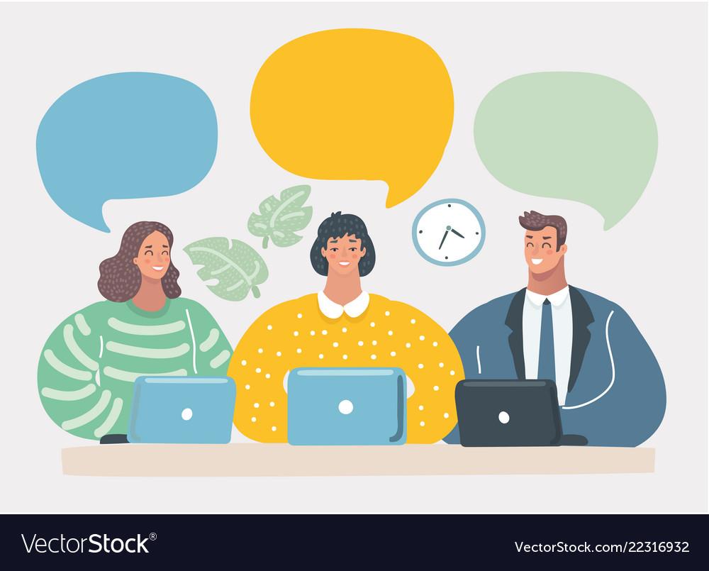 Business team communication blank speech bubbles