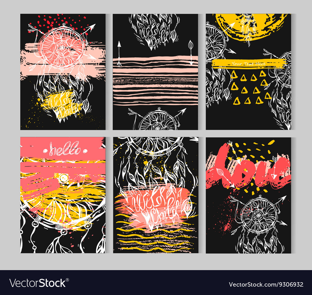Hand draw abstract textured dream catcher vector image