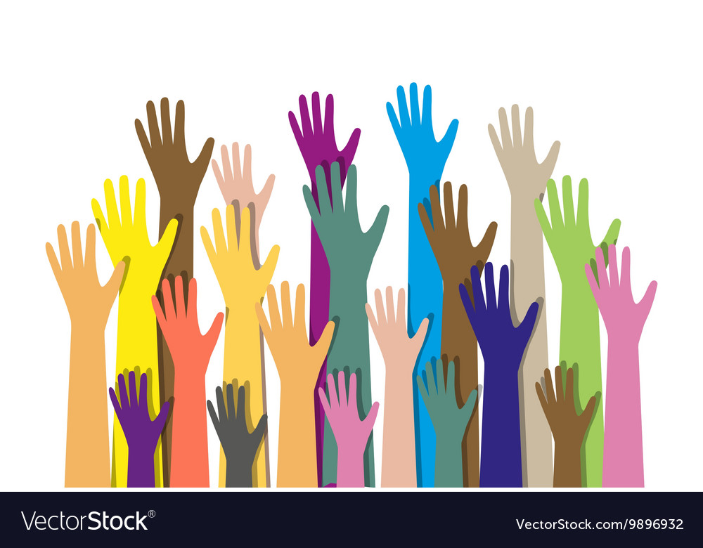 Hands different colors cultural ethnic diversity