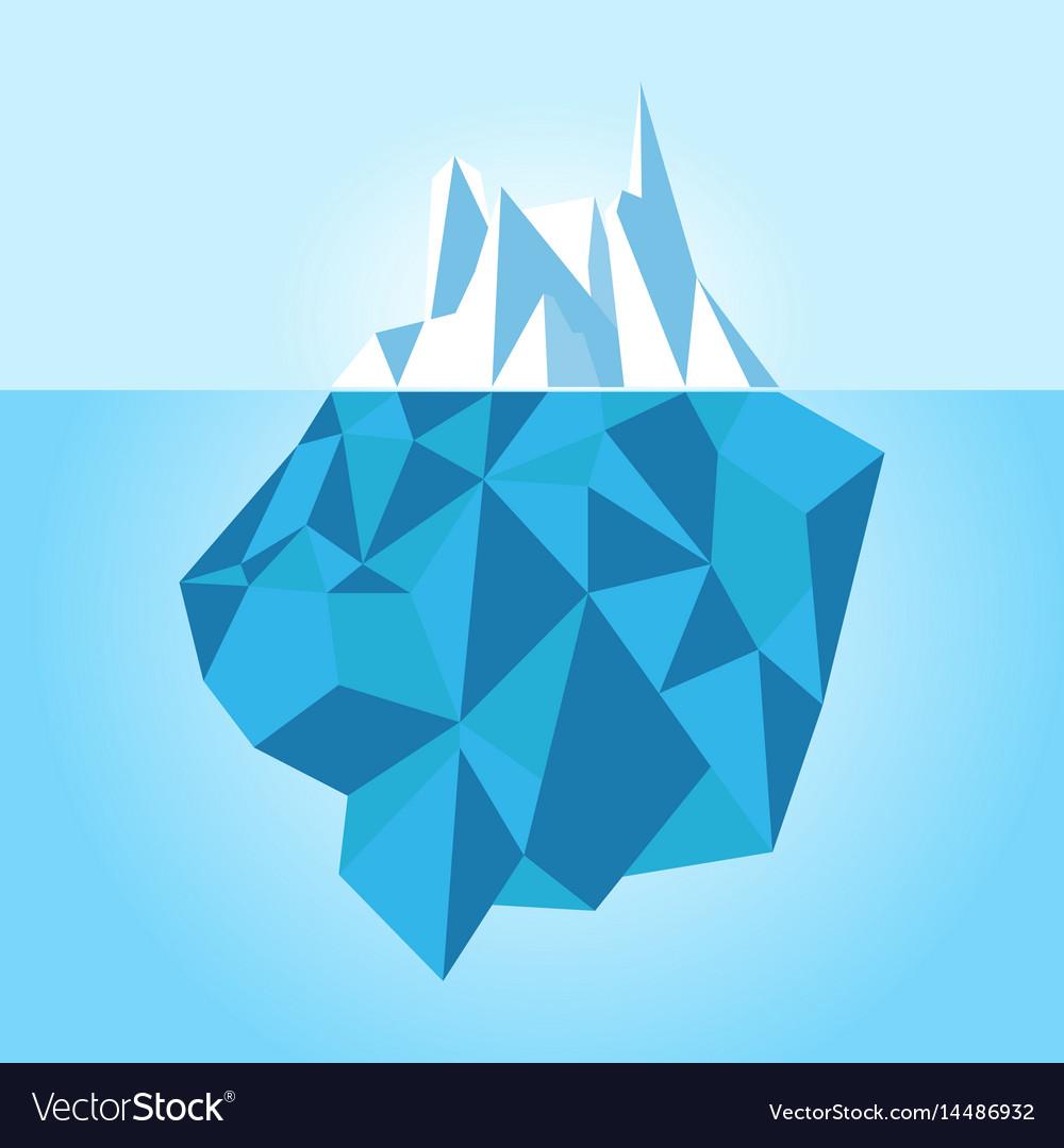 Low poly iceberg isolated on white background