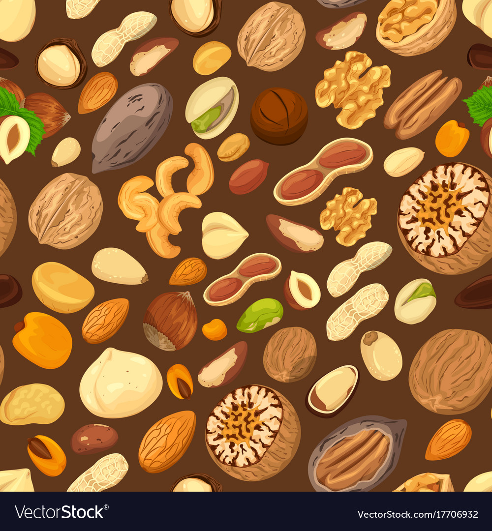 Nuts in shells and kernel seeds seamless pattern