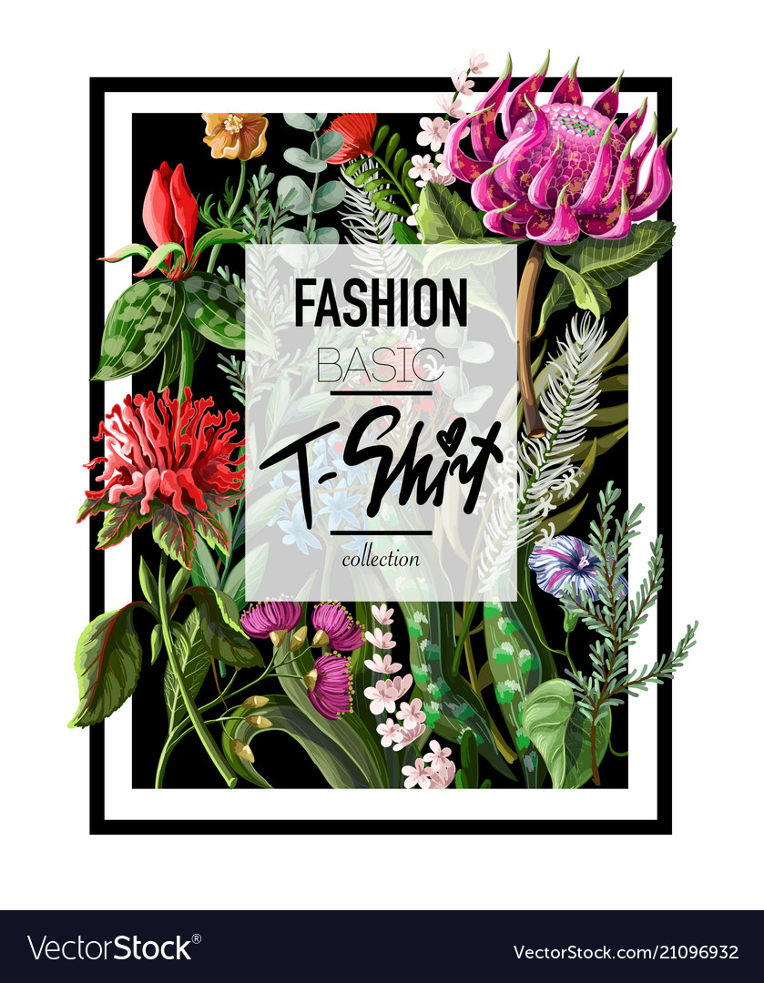 Print for t-shirt with tropical flowers