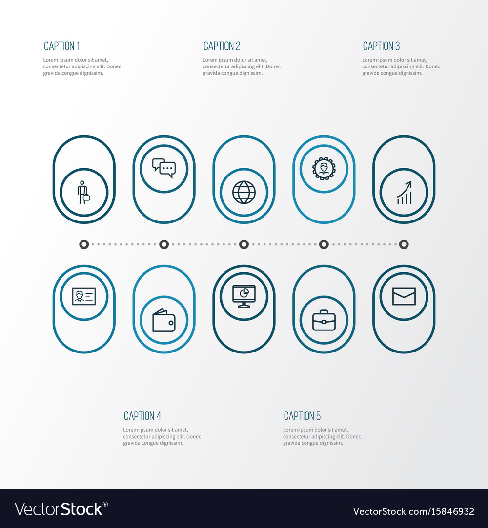 Trade outline icons set collection of vector image