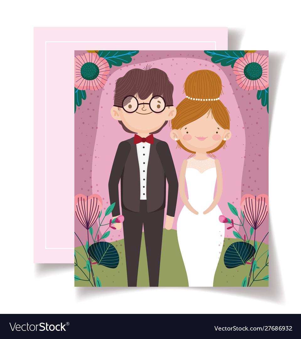 Wedding invitation with couple portrait flower