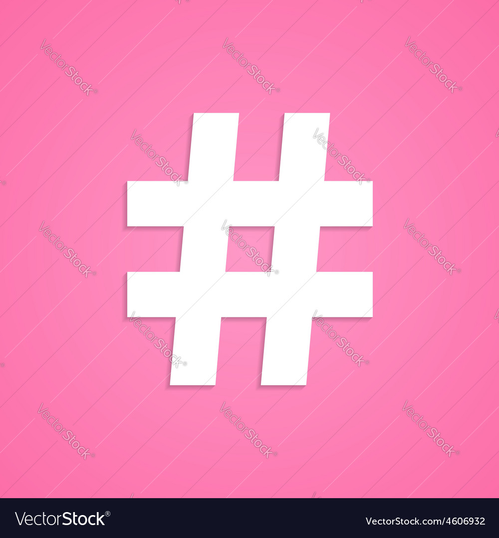 White hashtag icon isolated on pink background