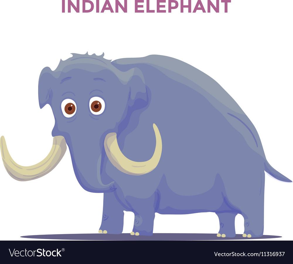 Cartoon Indian Elephant isolated on white