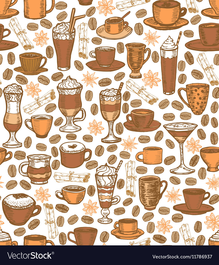 Coffee background with cups and cocktails