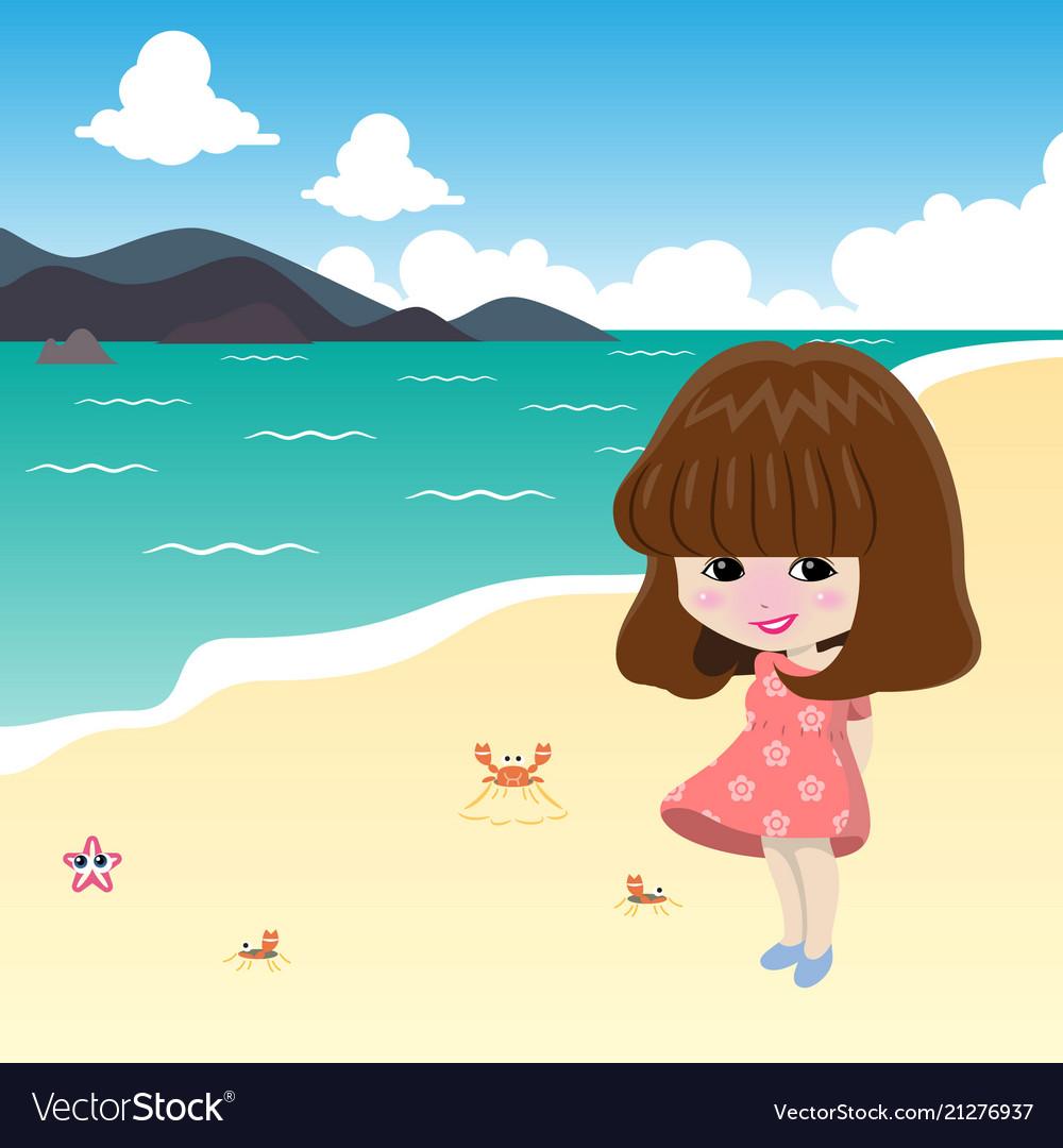Alone Cartoon Girl cute girl on the beach