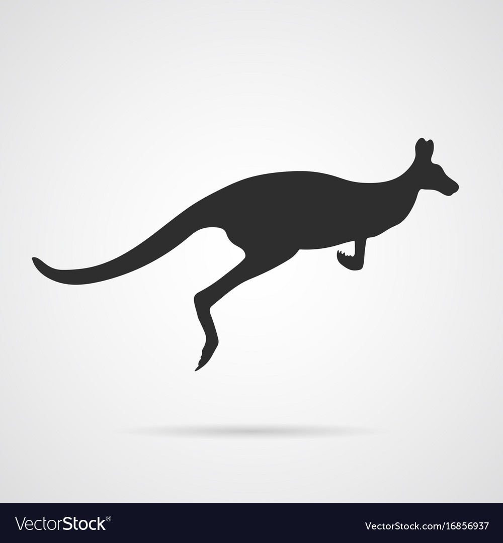 Gray silhouette of jumping kangaroo vector image