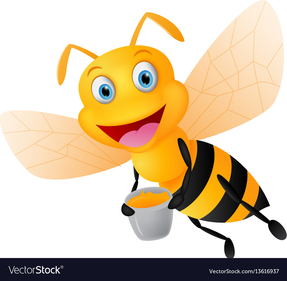 Happy bee cartoon with honey Royalty Free Vector Image