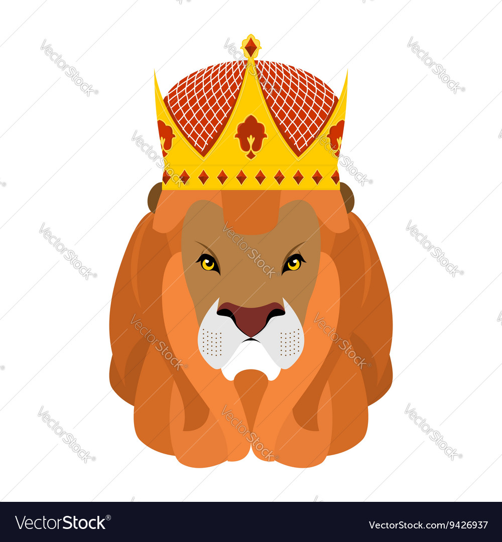 Lion King and crown Head of a predator with shaggy