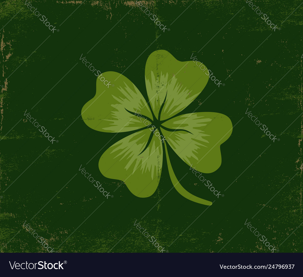 Lucky clover on old dark green paper