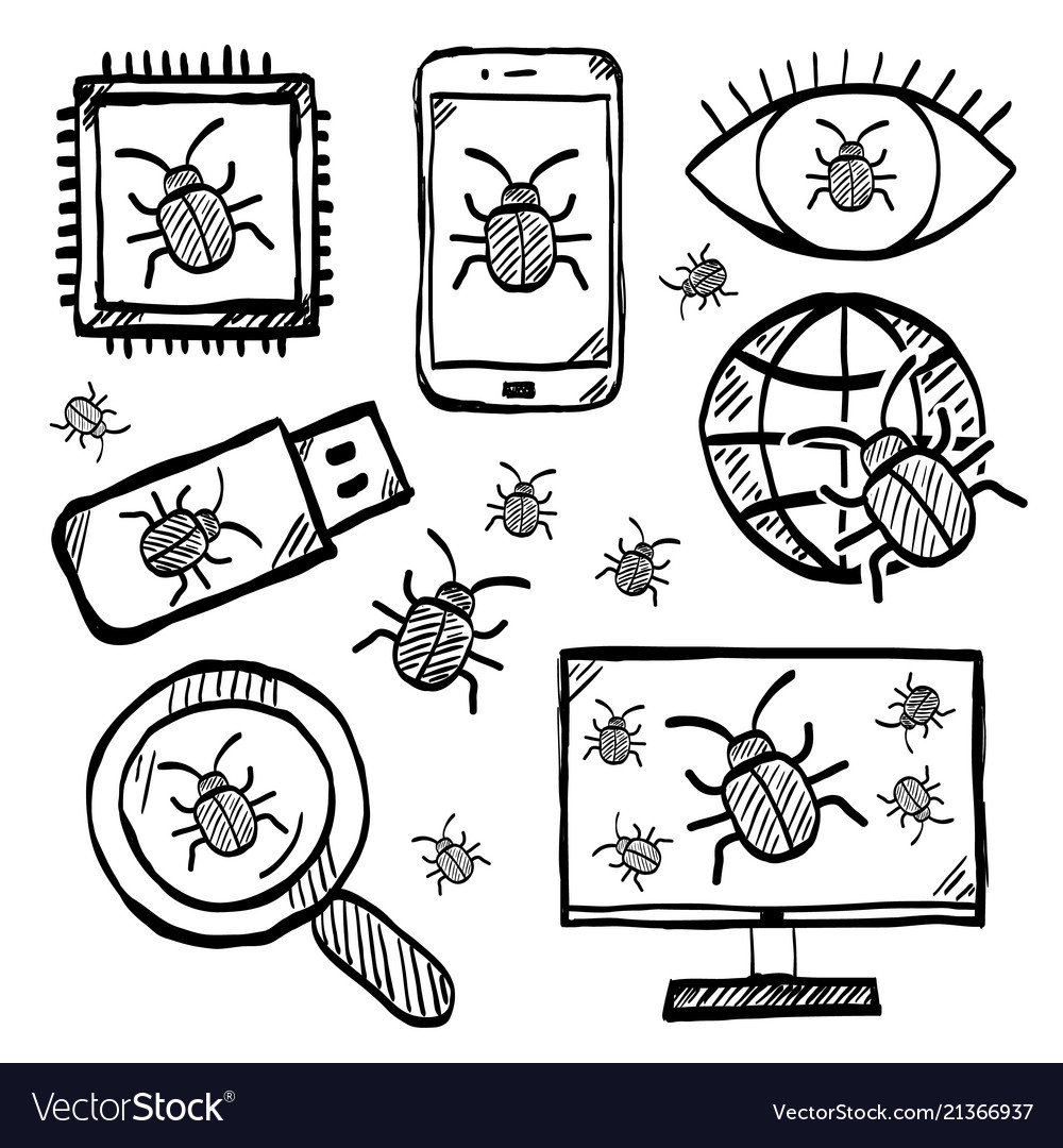 Malware and virus internet security icons