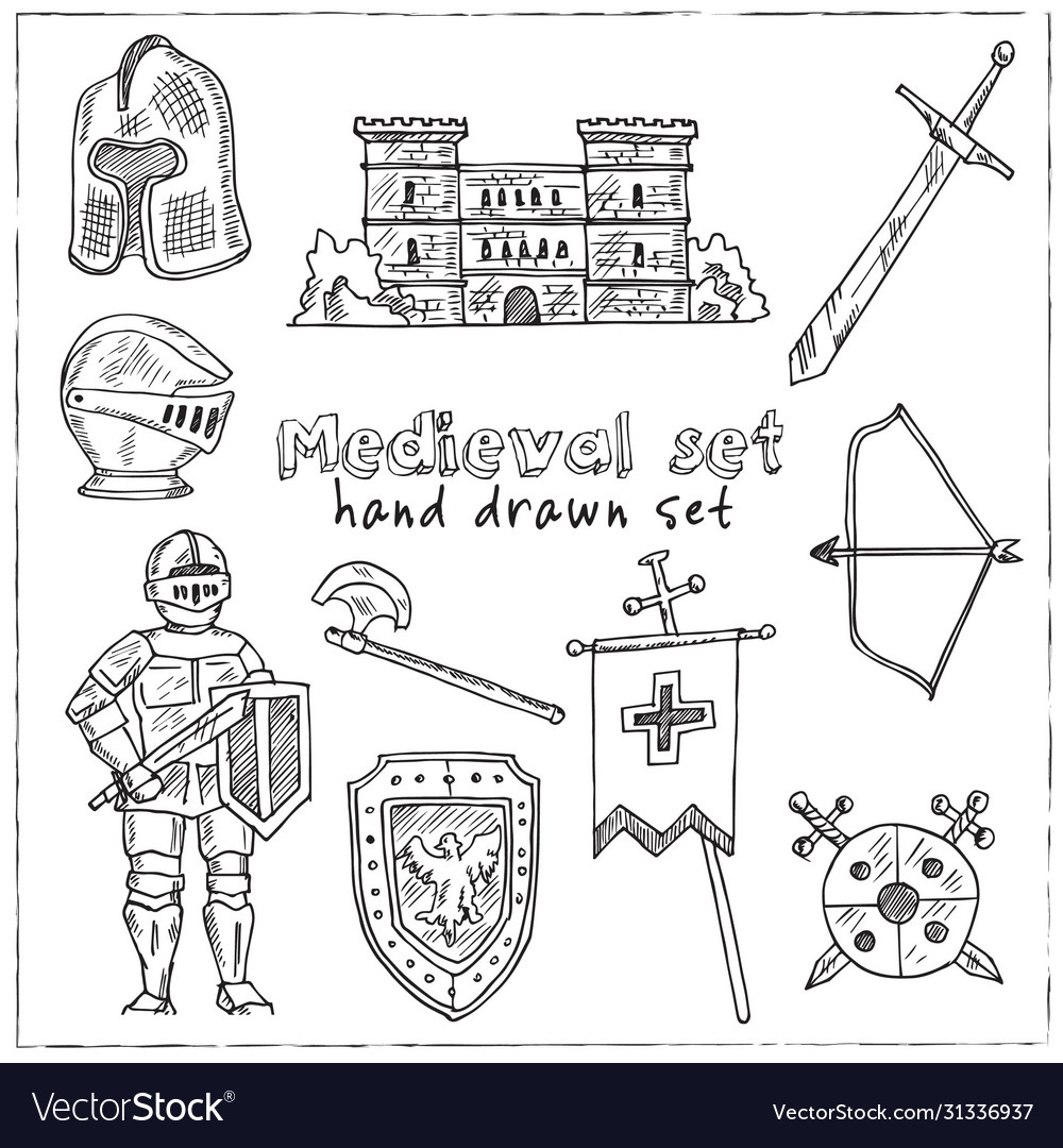 Medieval hand drawn set collection