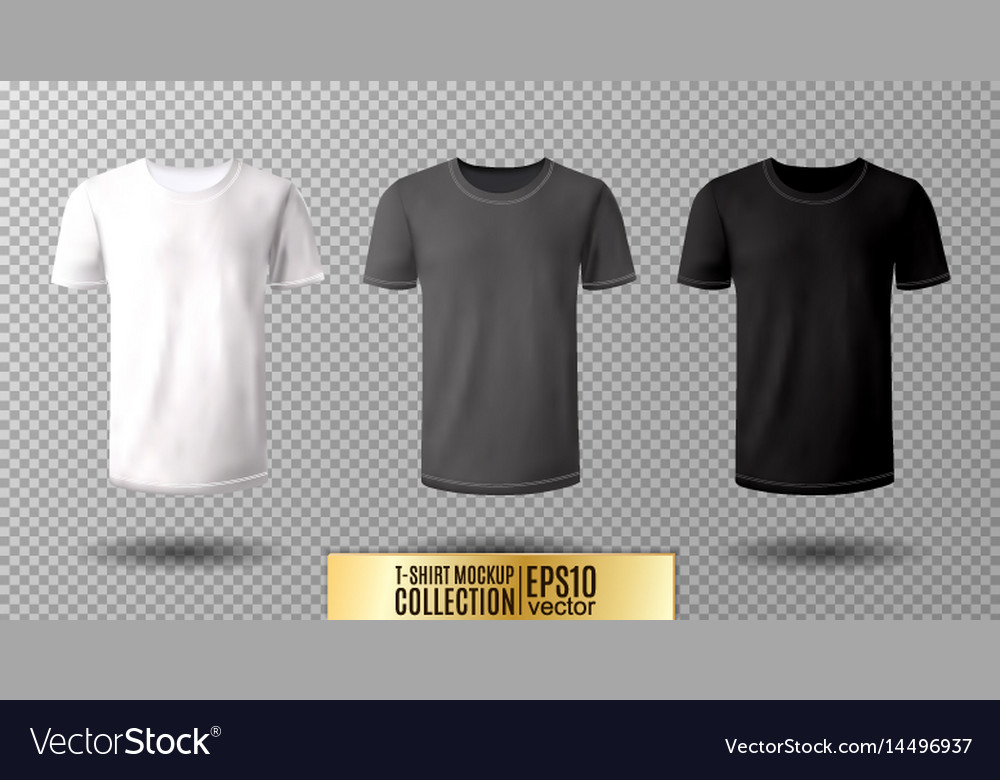 Shirt mock up set t-shirt template black gray vector image