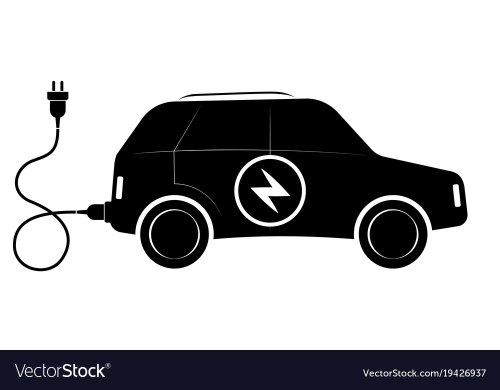 The sign of the electric suv vehicle black