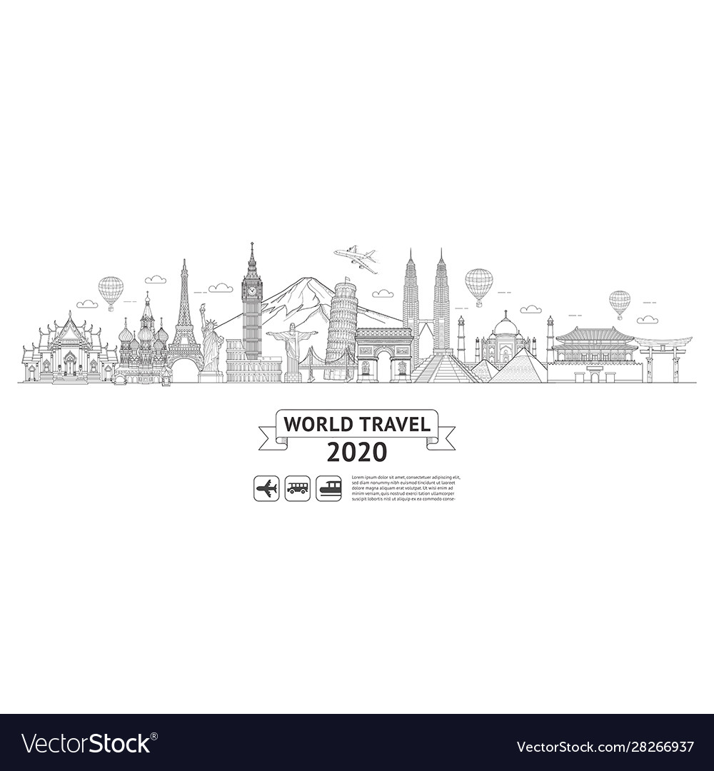 World travel doodle art drawing style