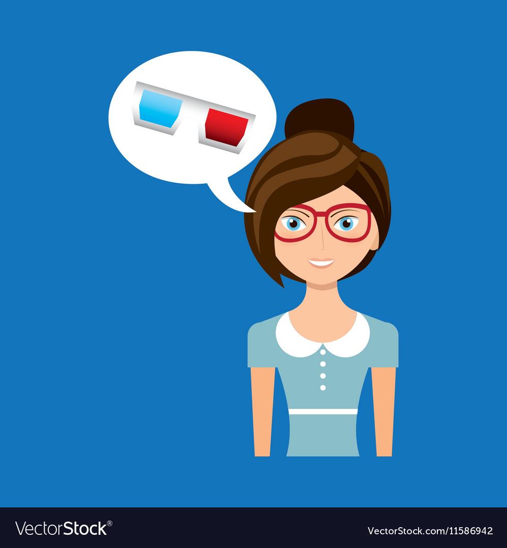 Beautiful girl concept cinema movie glasses icon