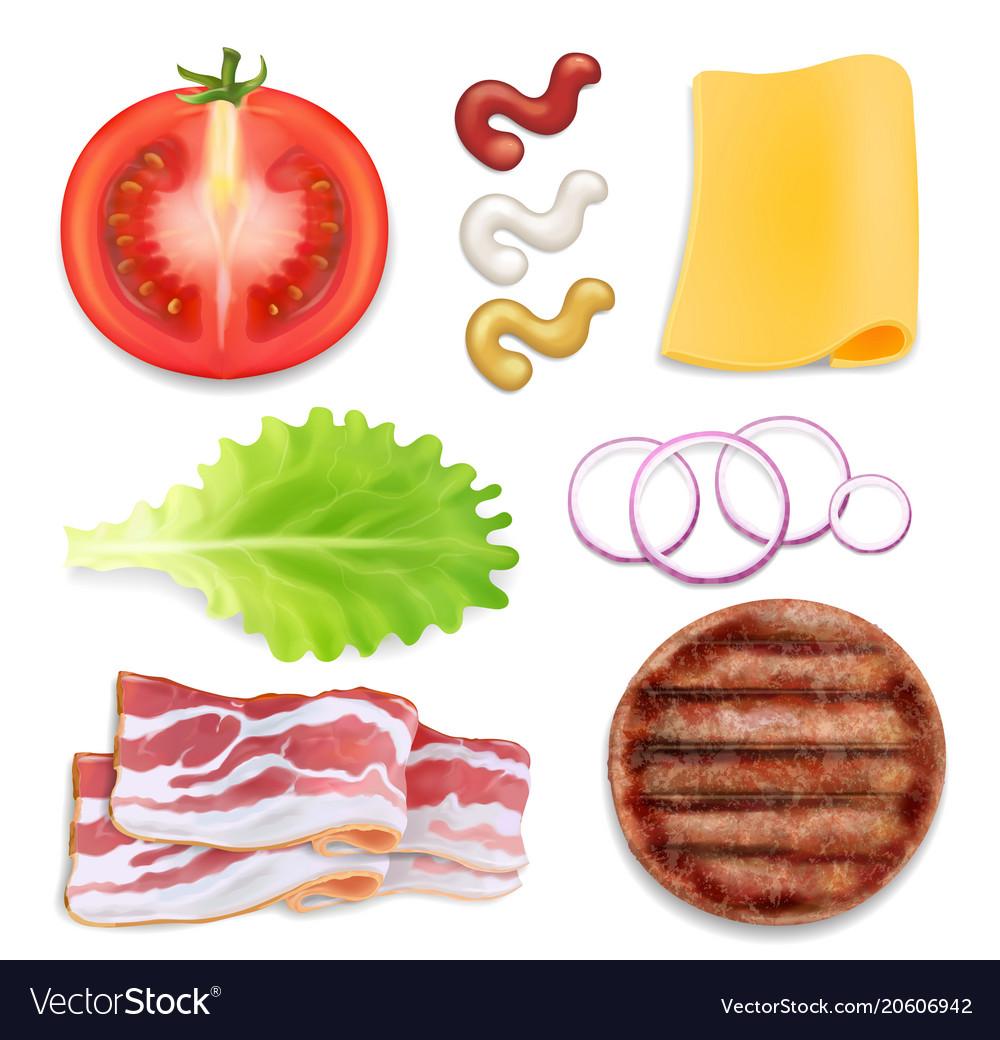 Burger ingredients burger parts set