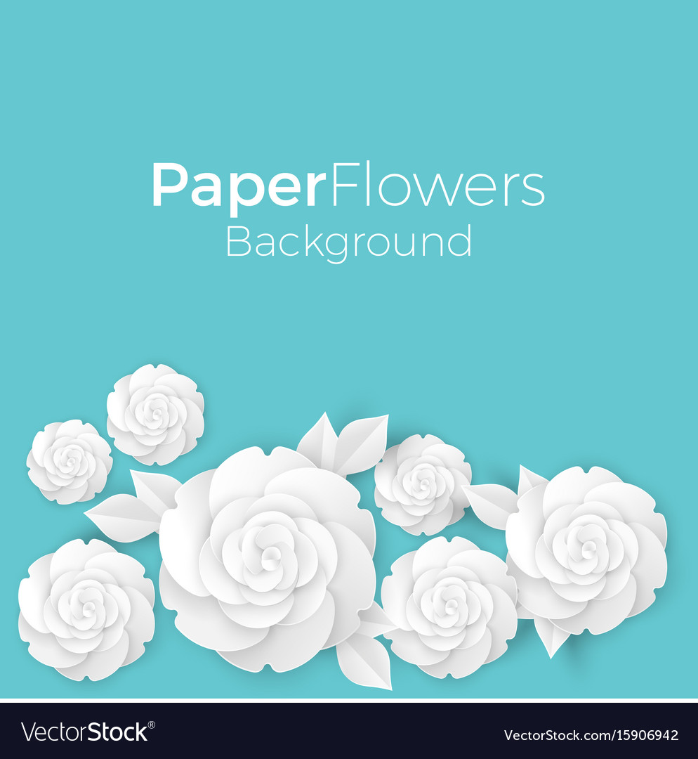 Flowers background with paper blooming white 3d vector image mightylinksfo