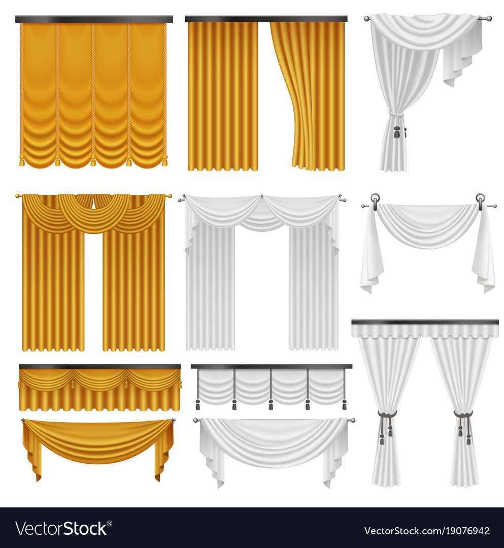 Golden and white velvet silk curtains and