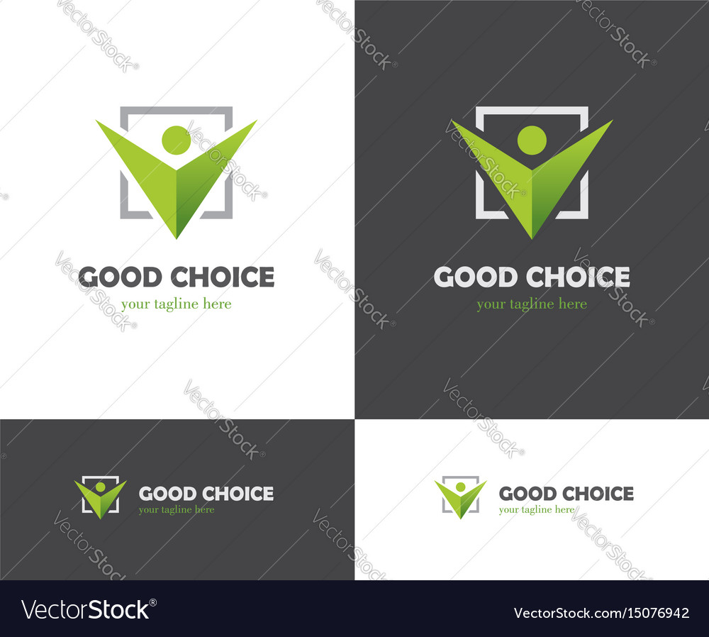 Green check box and abstract human icon