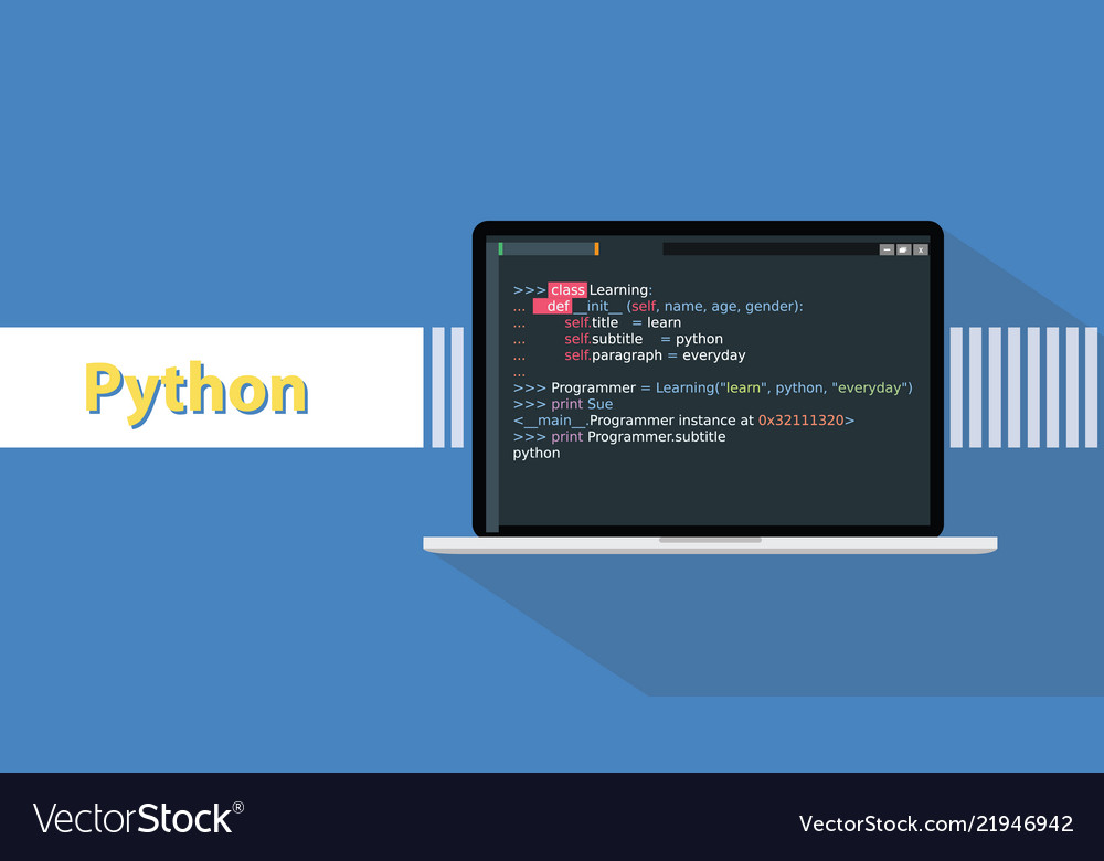 Python programming language with example code on
