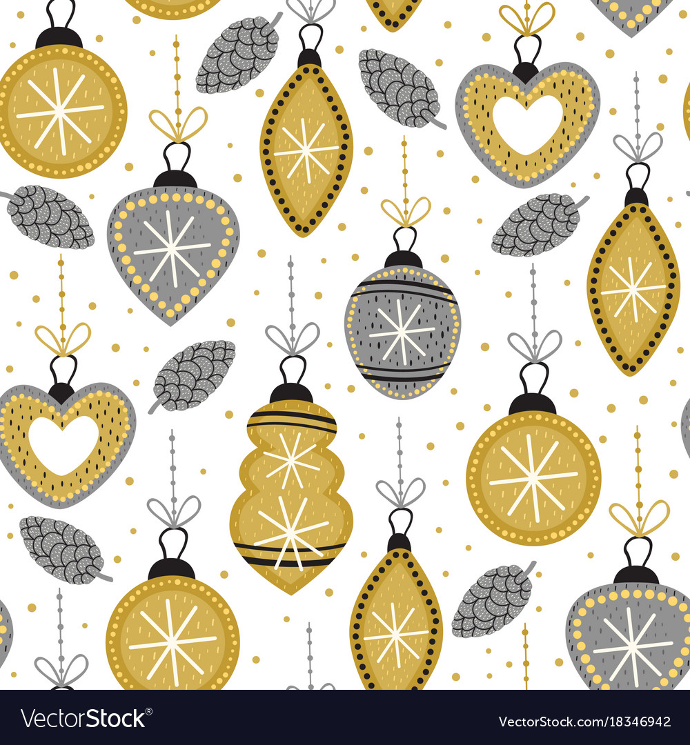 Seamless pattern with gold christmas decorations vector image