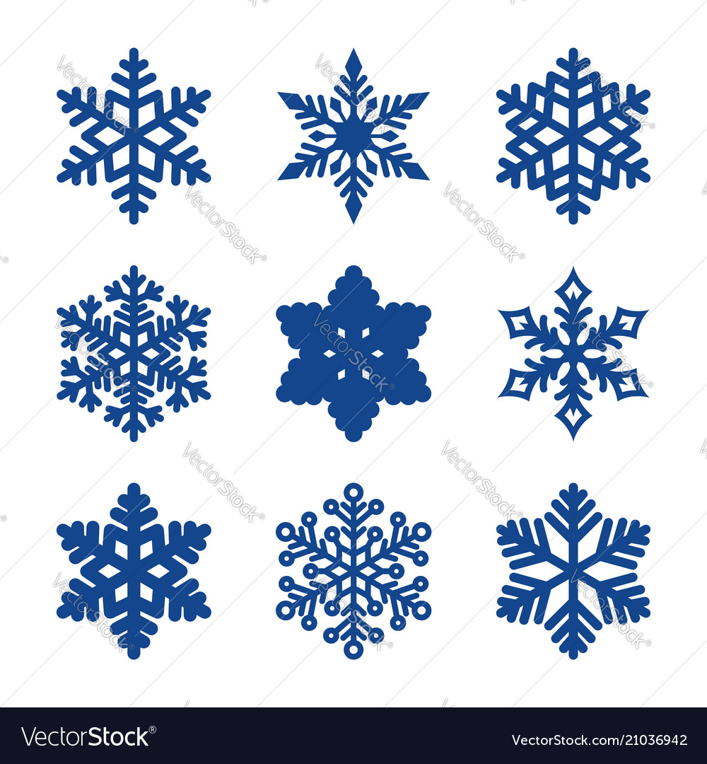 Set of 9 paper cut snowflakes