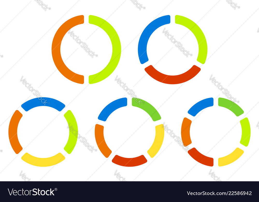 Set Pie Charts Graphs In 23456 Segments Segmented Vector Image