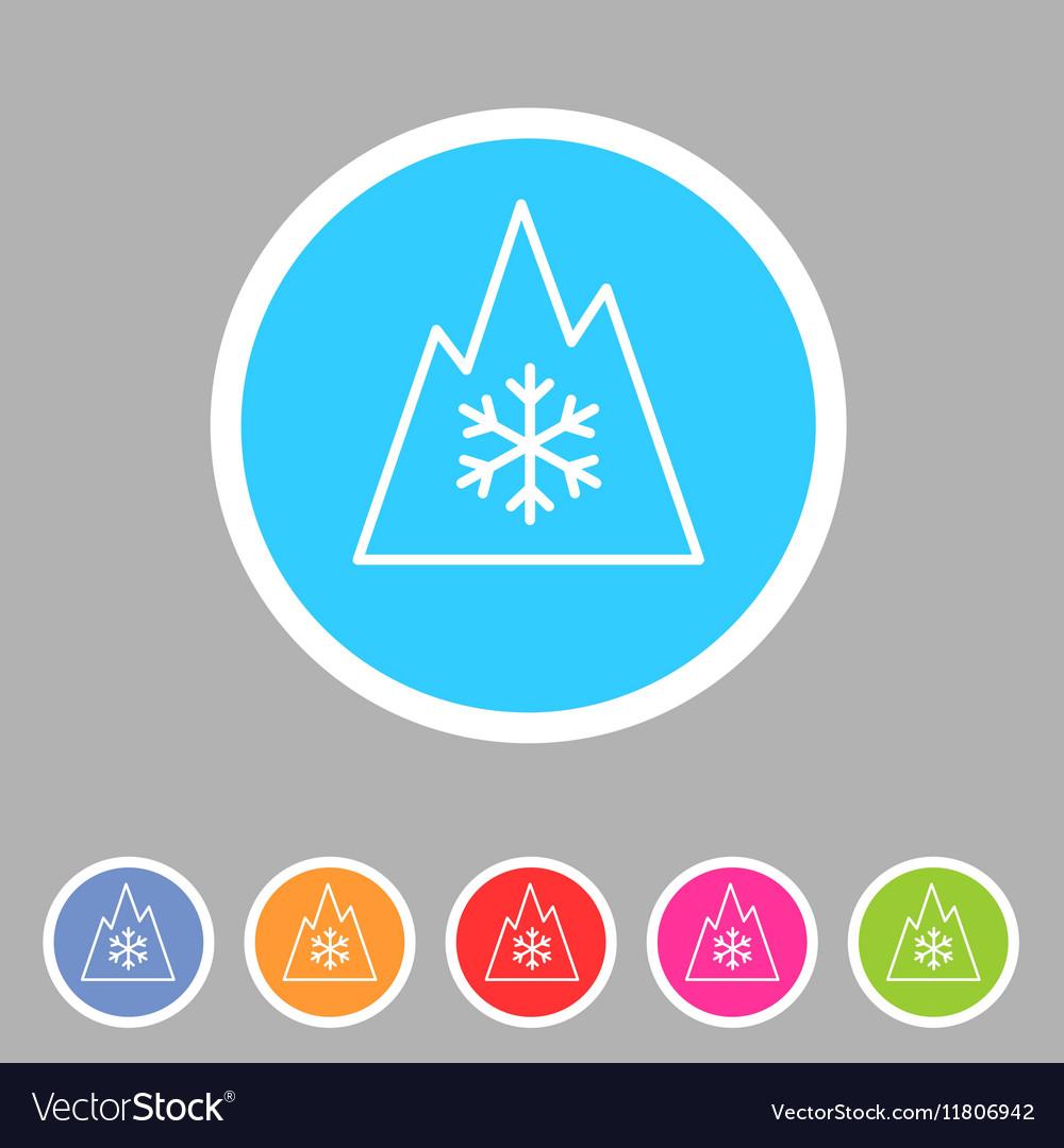 Snow tire Mountain Snowflake Mud symbol icon flat