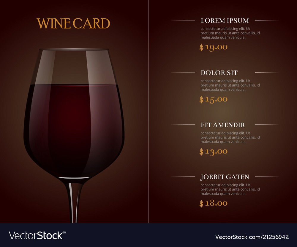 Wine card menu template with realistic glass of
