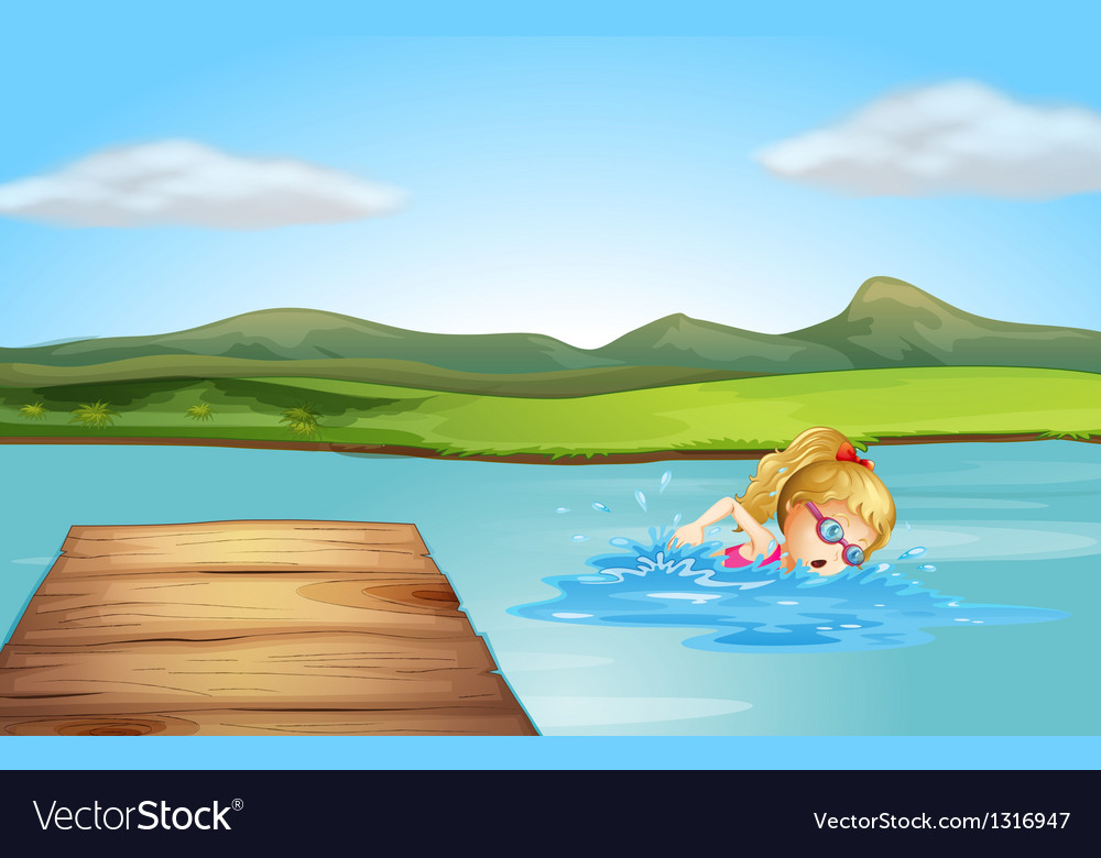 A girl swimming at the beach with a diving board vector image