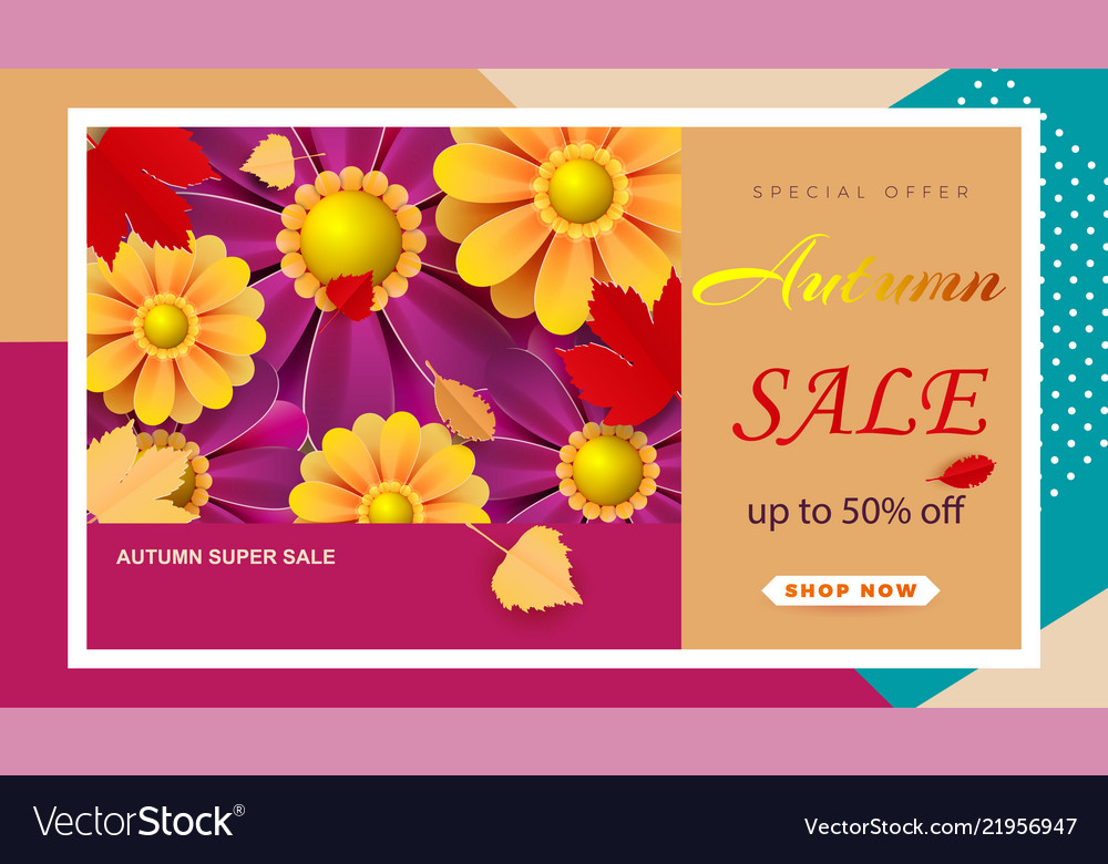 Autumn flyer template with the inscription bright