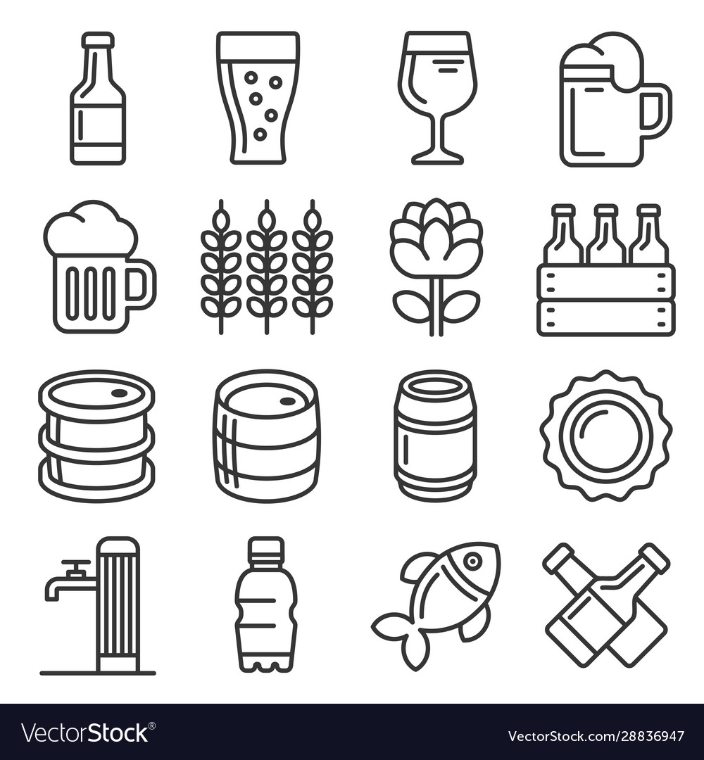 Beer icons set on white background line style