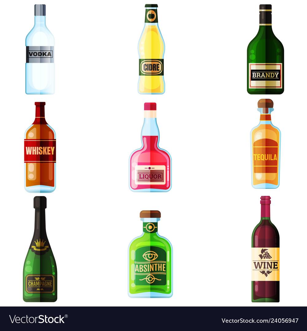 Big set different bottles alcohol drinks