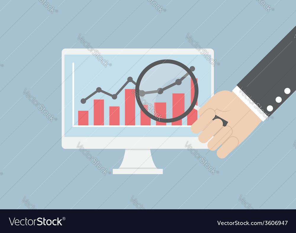 Businessman hand holding magnifying glass focusing