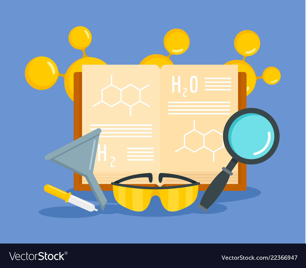 Chemical science concept background flat style