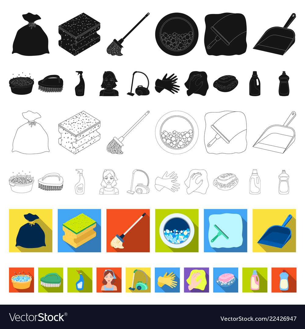 Cleaning and maid flat icons in set collection for