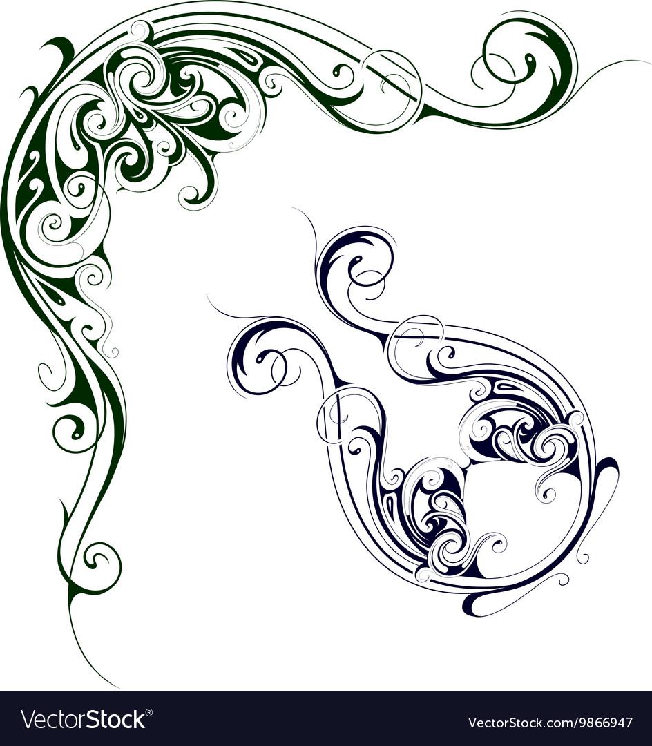 Elegant floral swirls vector image
