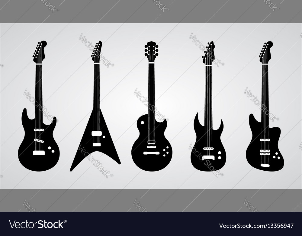 Guitar silhouettes set ilustration vector image