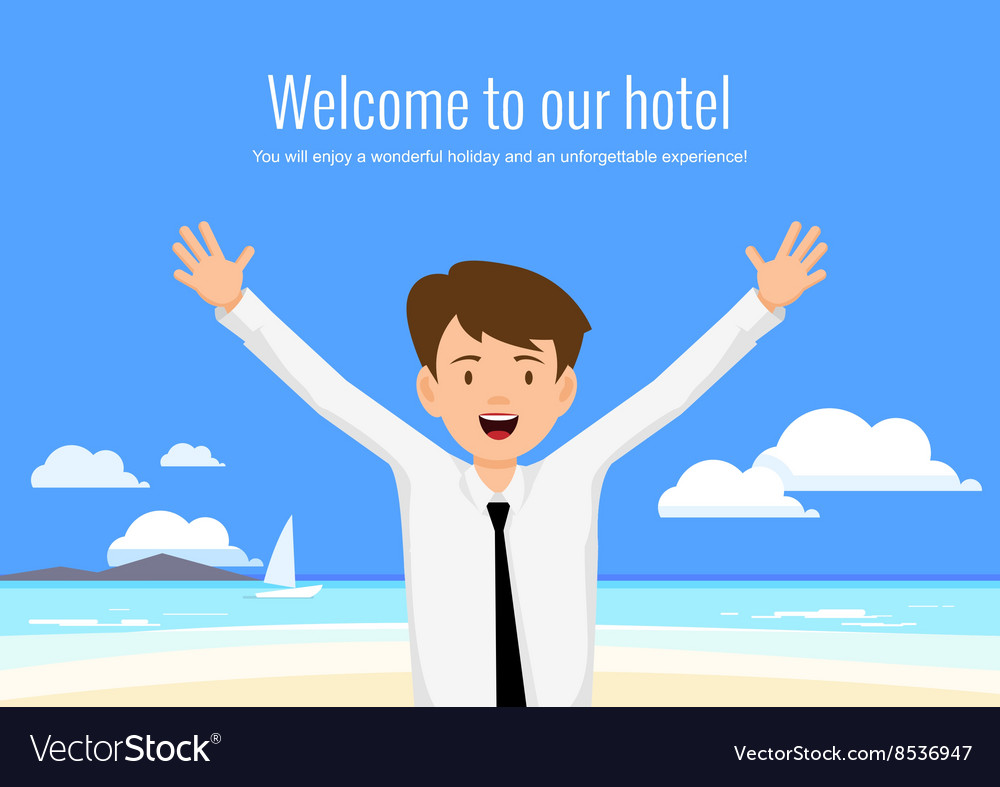 Male manager of the hotel welcomes its guests