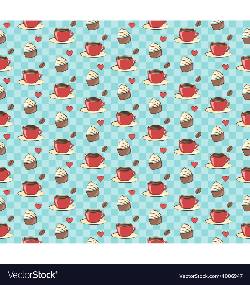 Seamless sweet pattern Cupcake with cup of coffee