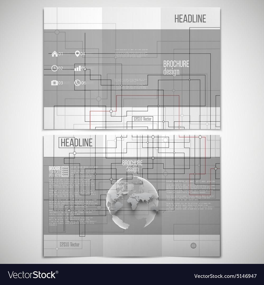 Set Of Tri Fold Brochure Design Template On Vector Image